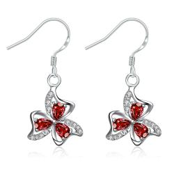 Vienna Jewelry Ruby Red Trio-Floral Petals Drop Earrings - Thumbnail 0