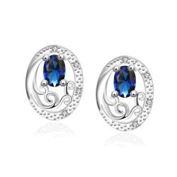 Vienna Jewelry Mock Sapphire Circular Jewels Layering Stud Earrings - Thumbnail 0