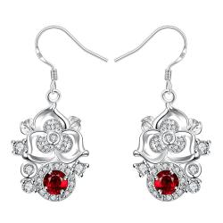Vienna Jewelry Petite Ruby Red Gem Blossoming Clover Drop Earrings - Thumbnail 0