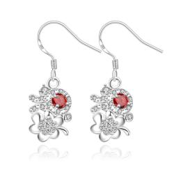 Vienna Jewelry Petite Ruby Red Floral Orchid Drop Earrings - Thumbnail 0