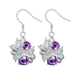 Vienna Jewelry Purple Citrine Floral Jewels Covering Drop Earrings - Thumbnail 0