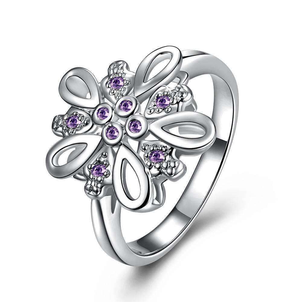 Vienna Jewelry Purple Citrine Blossoming Clover Petite Ring Size 7