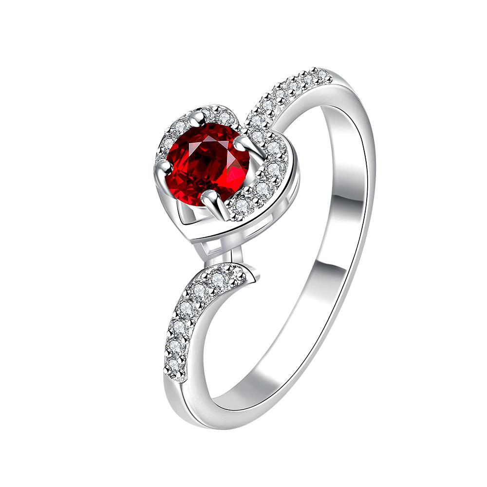 Petite Ruby Red Swirl Jewels Modern Ring Size 7