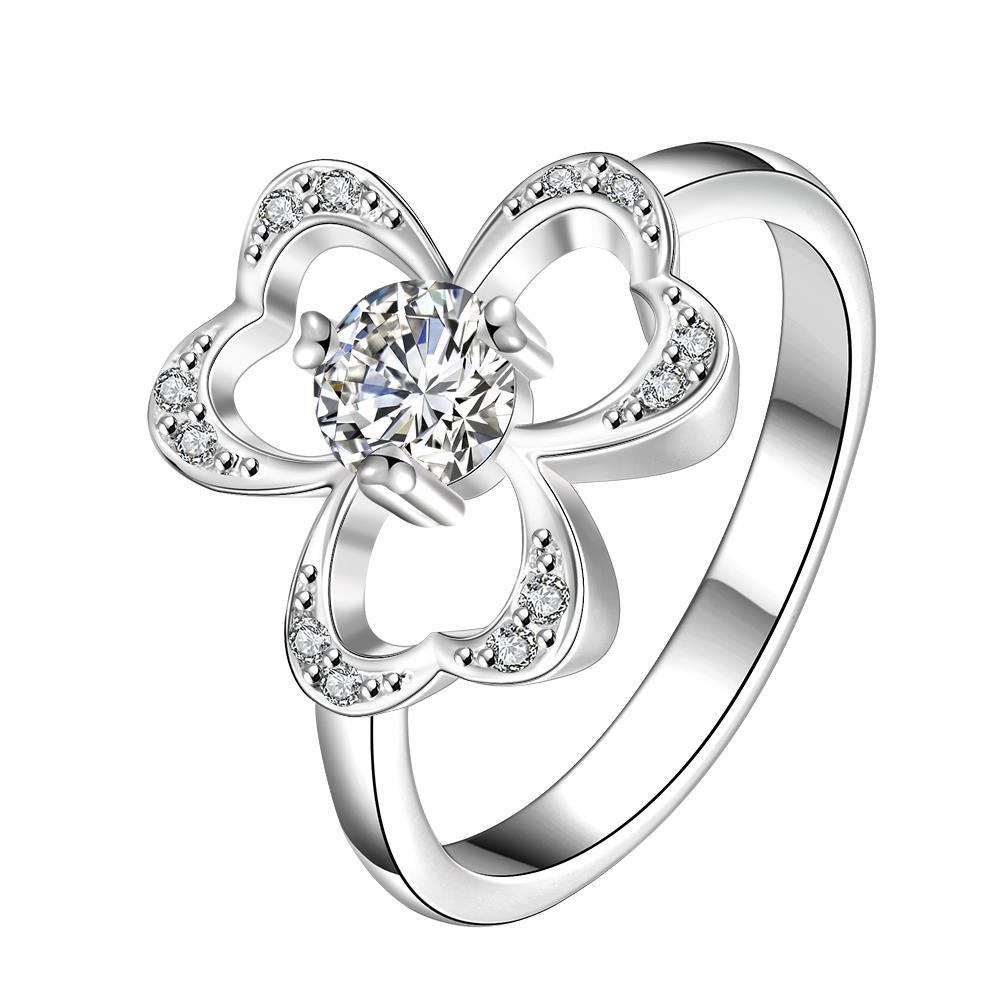 Vienna Jewelry Trio-Clover Stud Classic Crystal Petite Ring Size 7