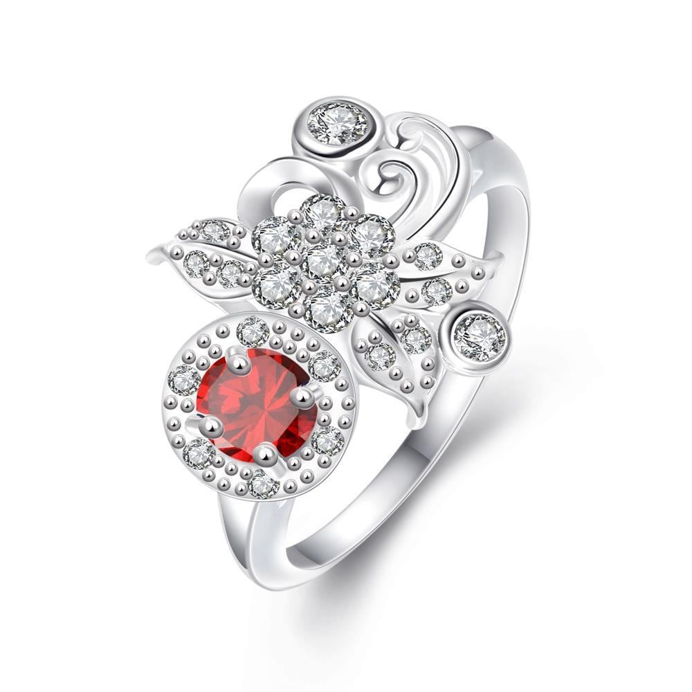 Vienna Jewelry Petite Ruby Red Gem Covered with Clover Crystal Ring Size 8