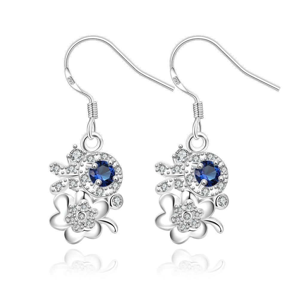 Vienna Jewelry Petite Mock Sapphire Floral Orchid Drop Earrings