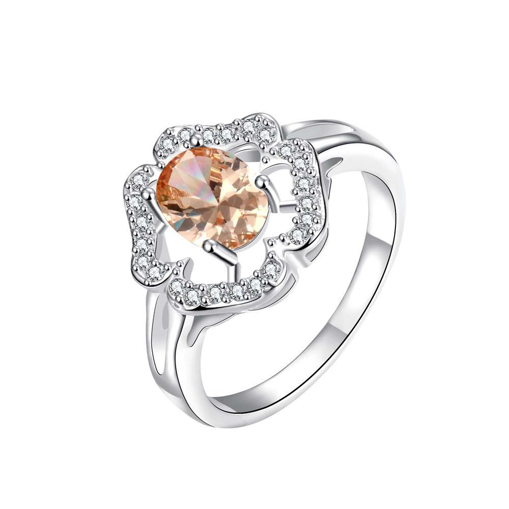 Clover Cluster Orange Citrine Petite Ring Size 8