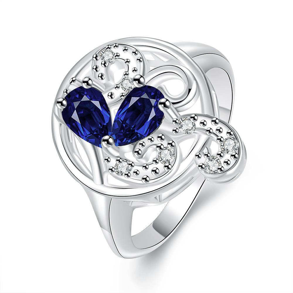 Duo-Mock Sapphire Crystal Swirl Design Petite Ring Size 8
