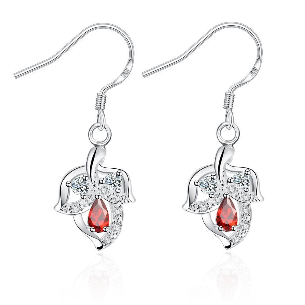 Vienna Jewelry Ruby Red Floral Triangular Drop Earrings - Thumbnail 0