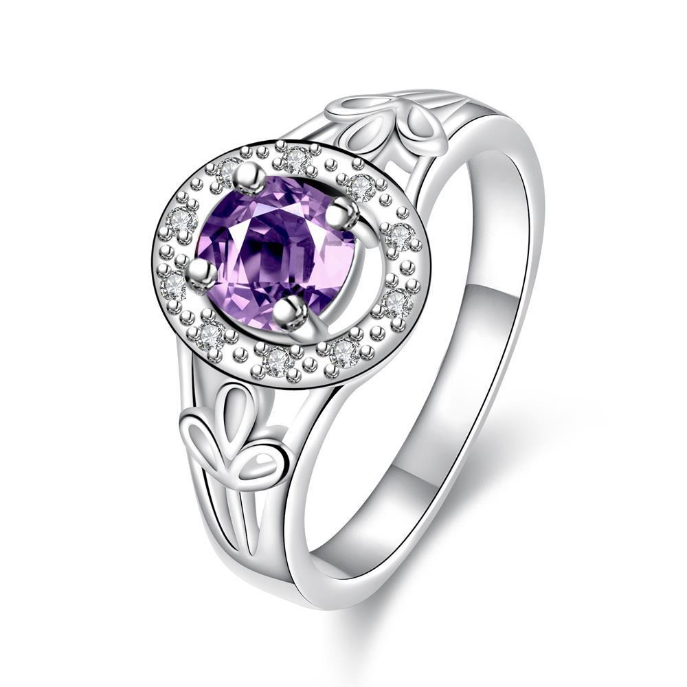 Vienna Jewelry Petite Purple Citrine Circular Emblem Ring Size 7