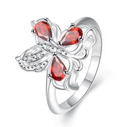 Trio-Ruby Red Clover Stud Petite Ring Size 7 - Thumbnail 0