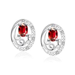 Vienna Jewelry Ruby Red Circular Jewels Layering Stud Earrings - Thumbnail 0
