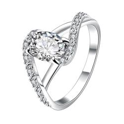 Petite Crystal Stone Swirl Design Twist Ring Size 8 - Thumbnail 0