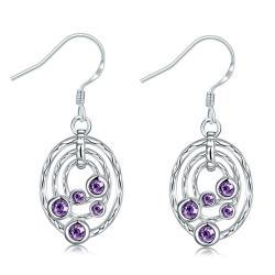 Vienna Jewelry Purple Citrine Circular Pendant Drop Earrings - Thumbnail 0