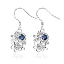 Vienna Jewelry Petite Mock Sapphire Floral Orchid Drop Earrings - Thumbnail 0