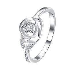 Petite Crystal Stone Blossoming Floral Ring Size 8 - Thumbnail 0