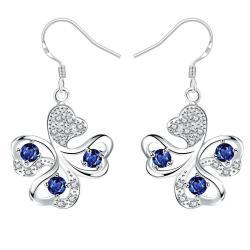 Vienna Jewelry Mock Sapphire Clover Shaped Drop Earrings - Thumbnail 0