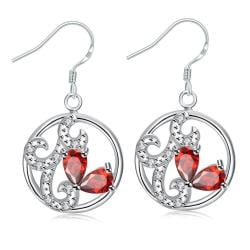 Vienna Jewelry Petite Ruby Red Laser Cut Spiral Drop Earrings - Thumbnail 0