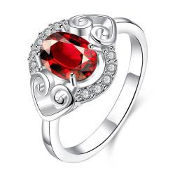 Petite Ruby Red Duo Hearts Laser Cut Ring Size 7 - Thumbnail 0