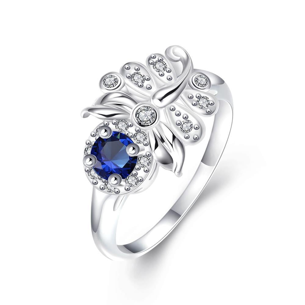 Vienna Jewelry Petite Mock Sapphire Floral Leaf Petite Ring Size 7