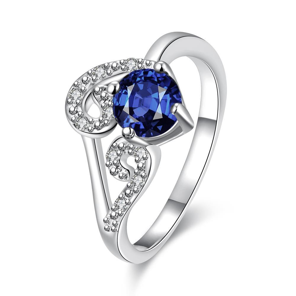 Vienna Jewelry Mock Sapphire Duo-Spiral Design Petite Ring Size 7