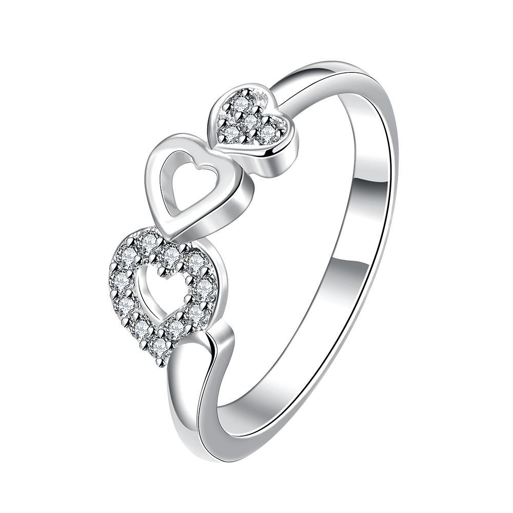Trio-Heart Drop Down Crystal Jewels Petite Ring Size 8
