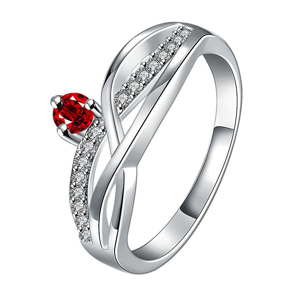 Vienna Jewelry Petite Ruby Red Gem Spiral Petite Ring Size 8 - Thumbnail 0