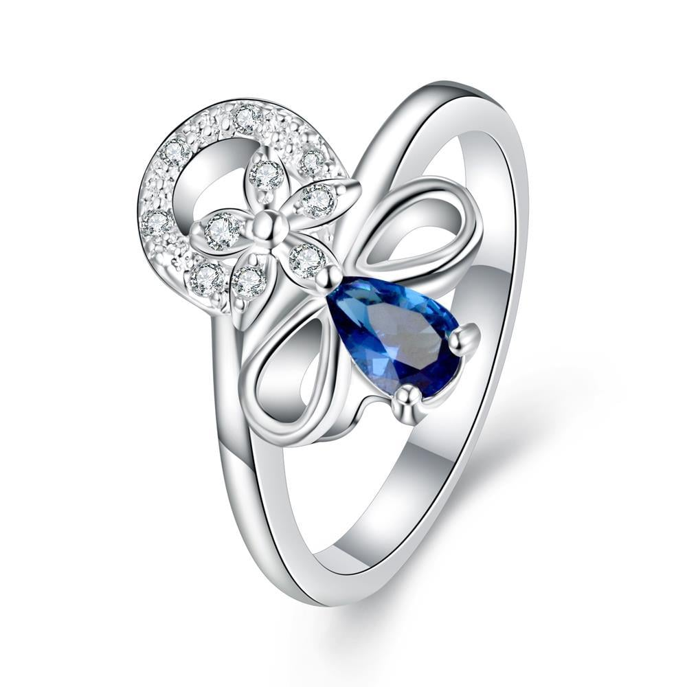 Petite Mock Sapphire Swirl Floral Emblem Ring Size 8
