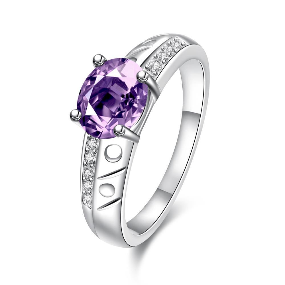 Vienna Jewelry Petite Purple Citrine Laser Cut Ingrain Ring Size 8