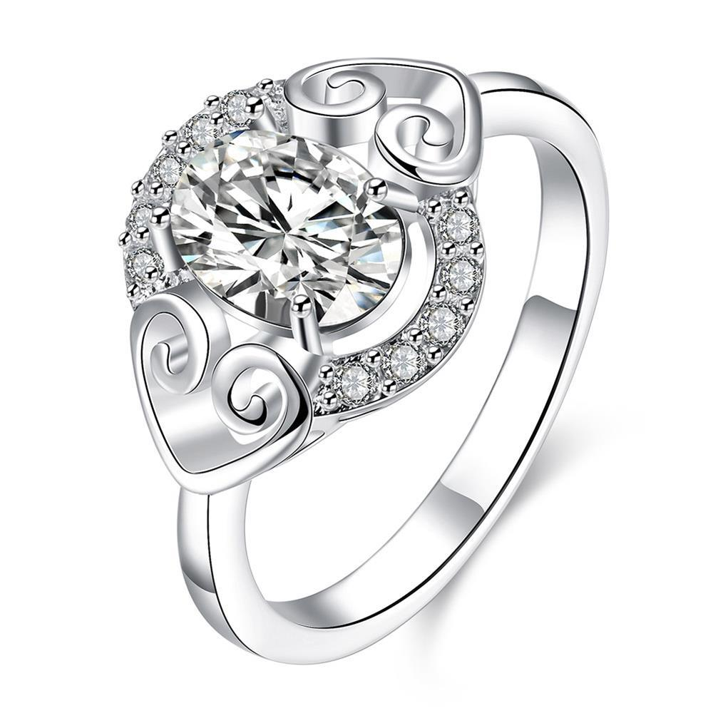 Petite Crystal Stone Duo Hearts Laser Cut Ring Size 8