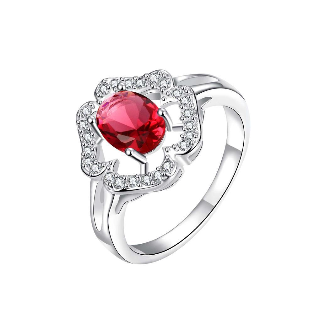 Vienna Jewelry Clover Cluster Ruby Red Petite Ring Size 8