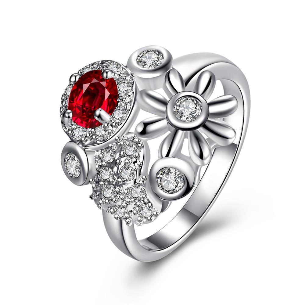 Vienna Jewelry Ruby Red Multi-Charms Inserted Petite Ring Size 8