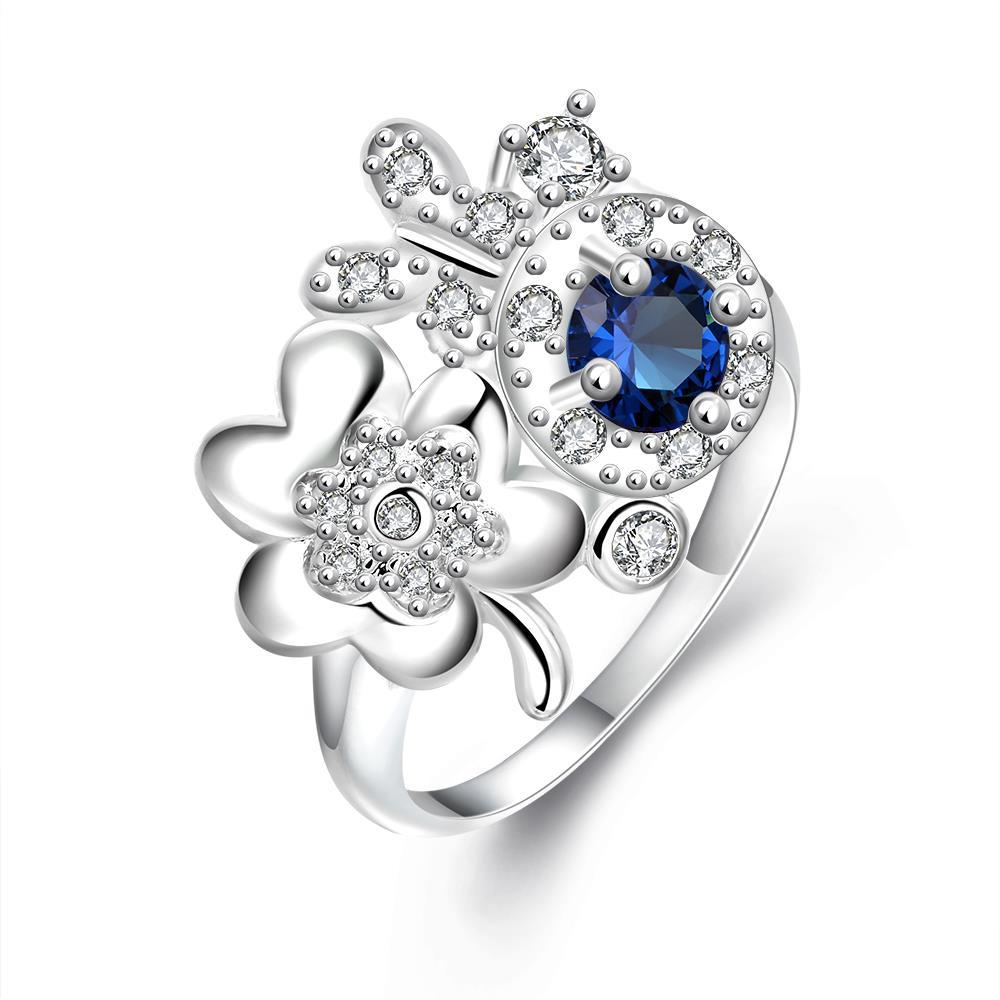 Vienna Jewelry Mock Sapphire Spiral & Clover Charms Petite Ring Size 7