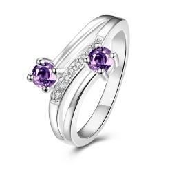 Duo-Petite Purple Citrine Spiral Ring Size 7 - Thumbnail 0