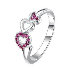 Trio-Heart Purple Citrine Jewels Petite Ring Size 7 - Thumbnail 0