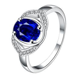 Open Mock Sapphire Gem Modern Petite Ring Size 8 - Thumbnail 0