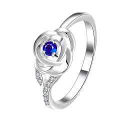 Petite Mock Sapphire Blossoming Floral Ring Size 8 - Thumbnail 0
