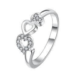 Trio-Heart Drop Down Crystal Jewels Petite Ring Size 8 - Thumbnail 0