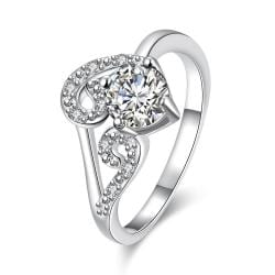 Classic Crystal Duo-Spiral Design Petite Ring Size 7 - Thumbnail 0