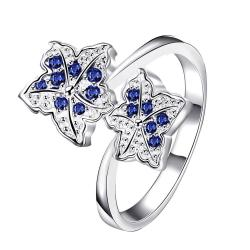 Duo-Mock Sapphire Floral Petals Classic Ring Size 8 - Thumbnail 0