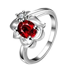 Ruby Red Floral Stud Petite Ring Size 7 - Thumbnail 0