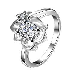 Classic Crystal Floral Stud Petite Ring Size 8 - Thumbnail 0