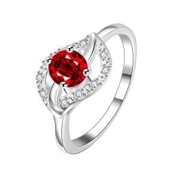 Classical Ruby Red Floral Petal Ring Size 8 - Thumbnail 0