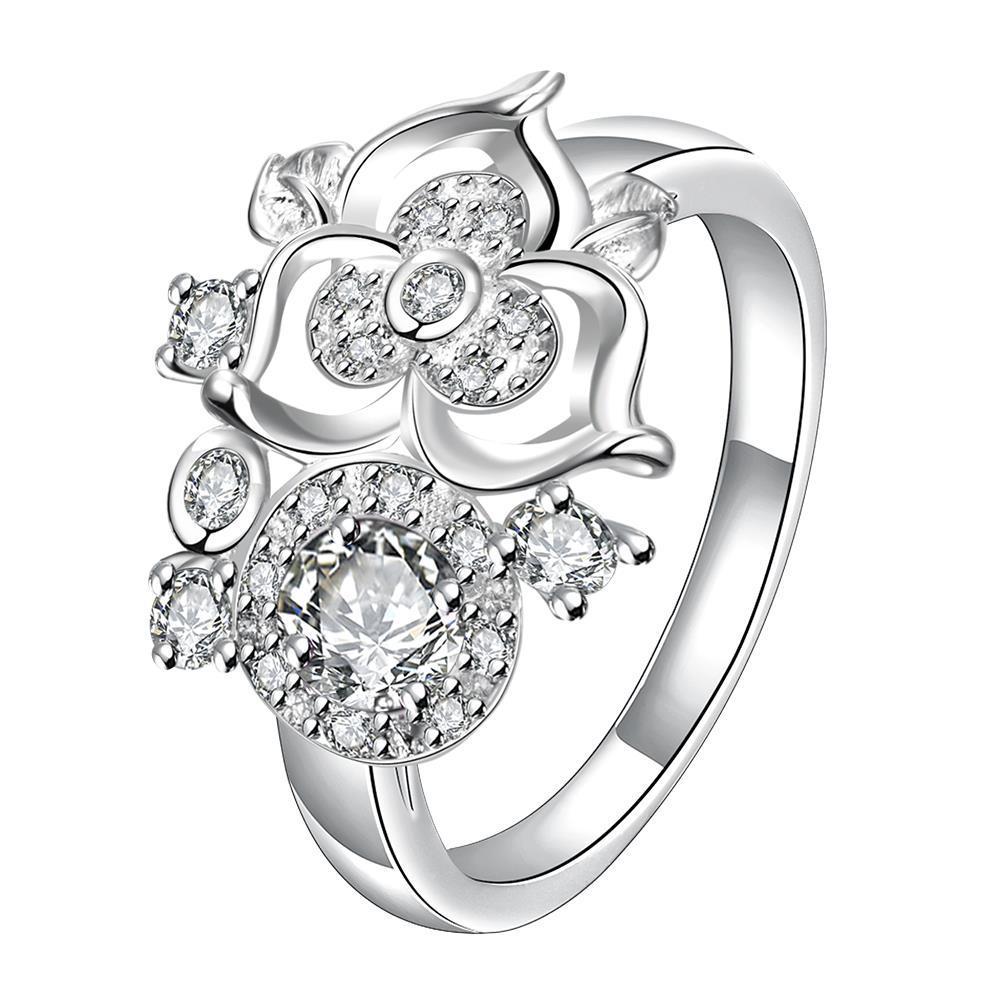 Mini Classic Crystal Clover Stud Shape Petite Ring Size 8