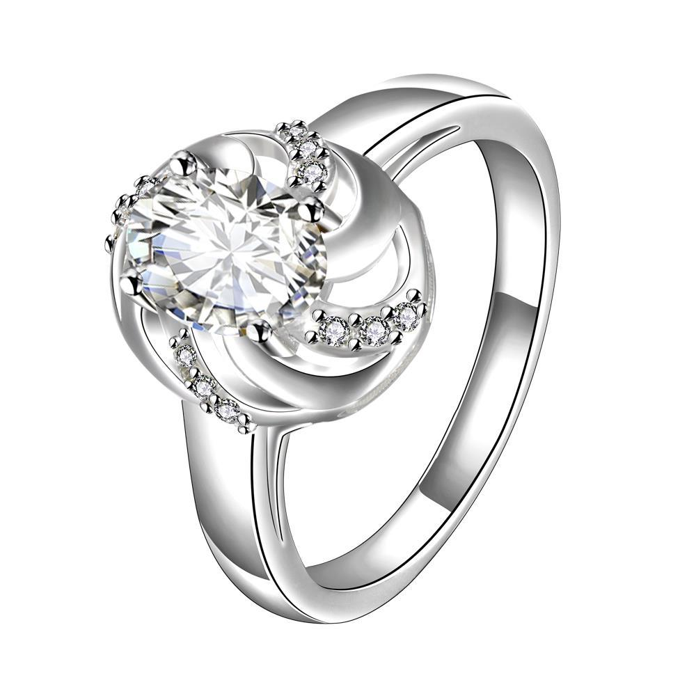 Classic Crystal Spiral Laser Cut Petite Ring Size 7