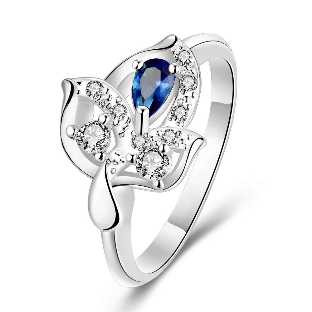 Vienna Jewelry Mock Sapphire Petite Gem Floral Drop Petite Ring Size 7