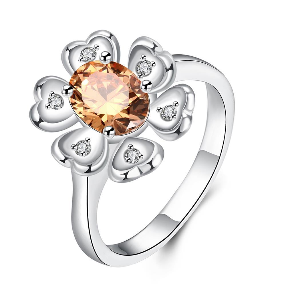 Vienna Jewelry Orange Citrine Clover Pendant Ring Size 7