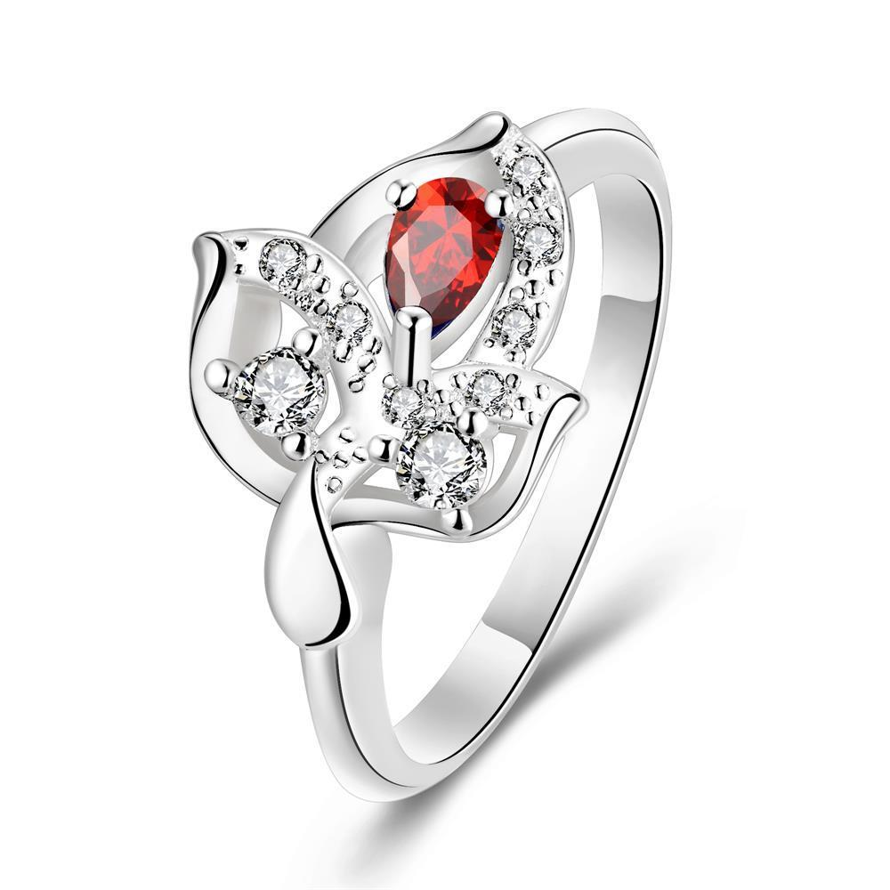 Vienna Jewelry Ruby Red Petite Gem Floral Drop Petite Ring Size 7