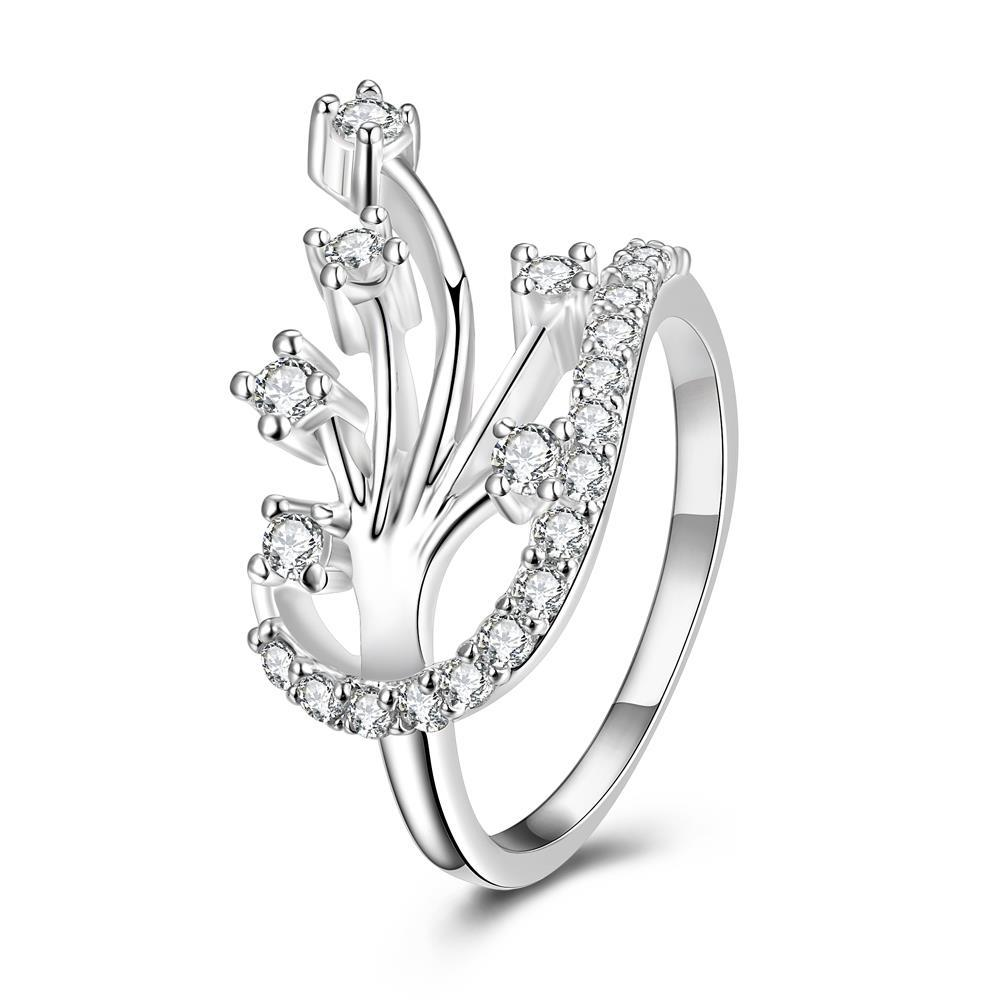 Modern Floral Orchid Spiral Ring Size 8