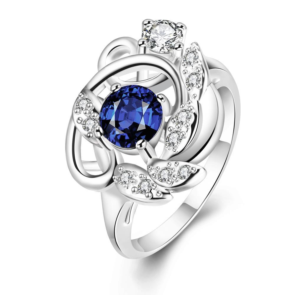 Vienna Jewelry Petite Mock Sapphire Floral Design Ring Size 8